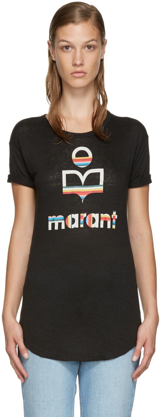 Isabel Marant Etoile Black Logo Kolda T Shirt Ssense