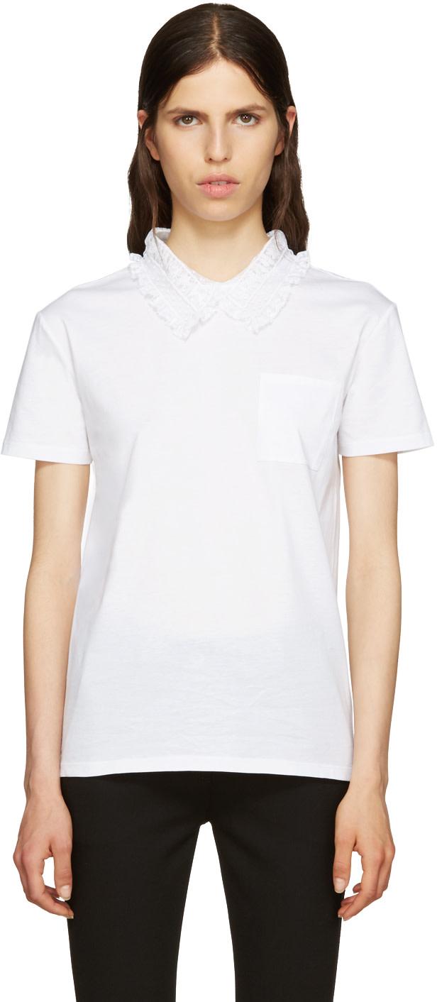 Miu miu white lace collar t shirt ssense for Miu miu t shirt