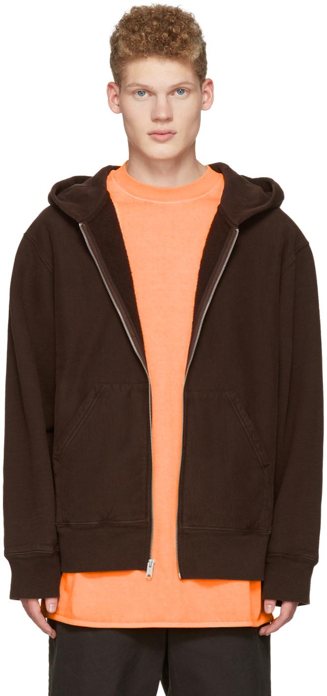 yeezy season 3 brown zip up hoodie ssense. Black Bedroom Furniture Sets. Home Design Ideas