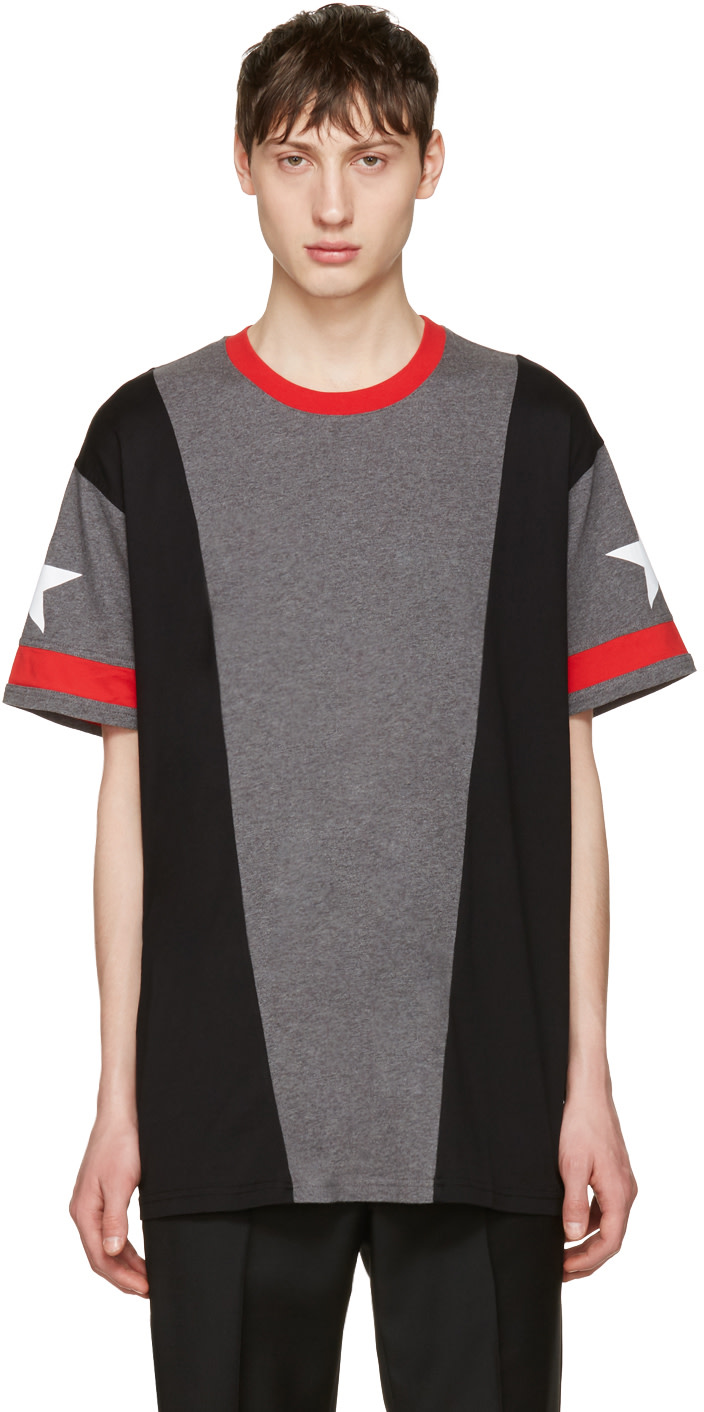 Givenchy grey star t shirt ssense for Givenchy t shirt size chart