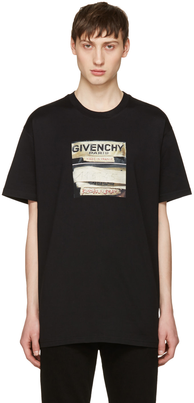 Givenchy black logo graphic t shirt ssense for Givenchy t shirt size chart