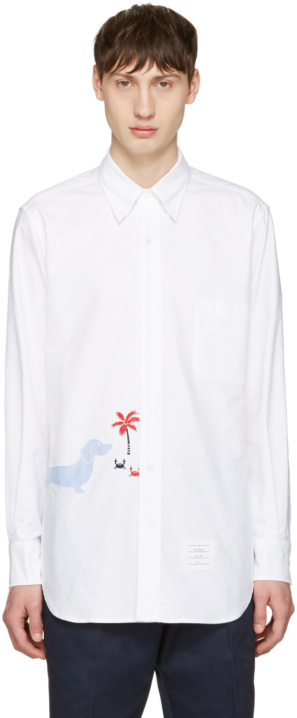 Thom browne white hector classic shirt ssense for Thom browne white shirt