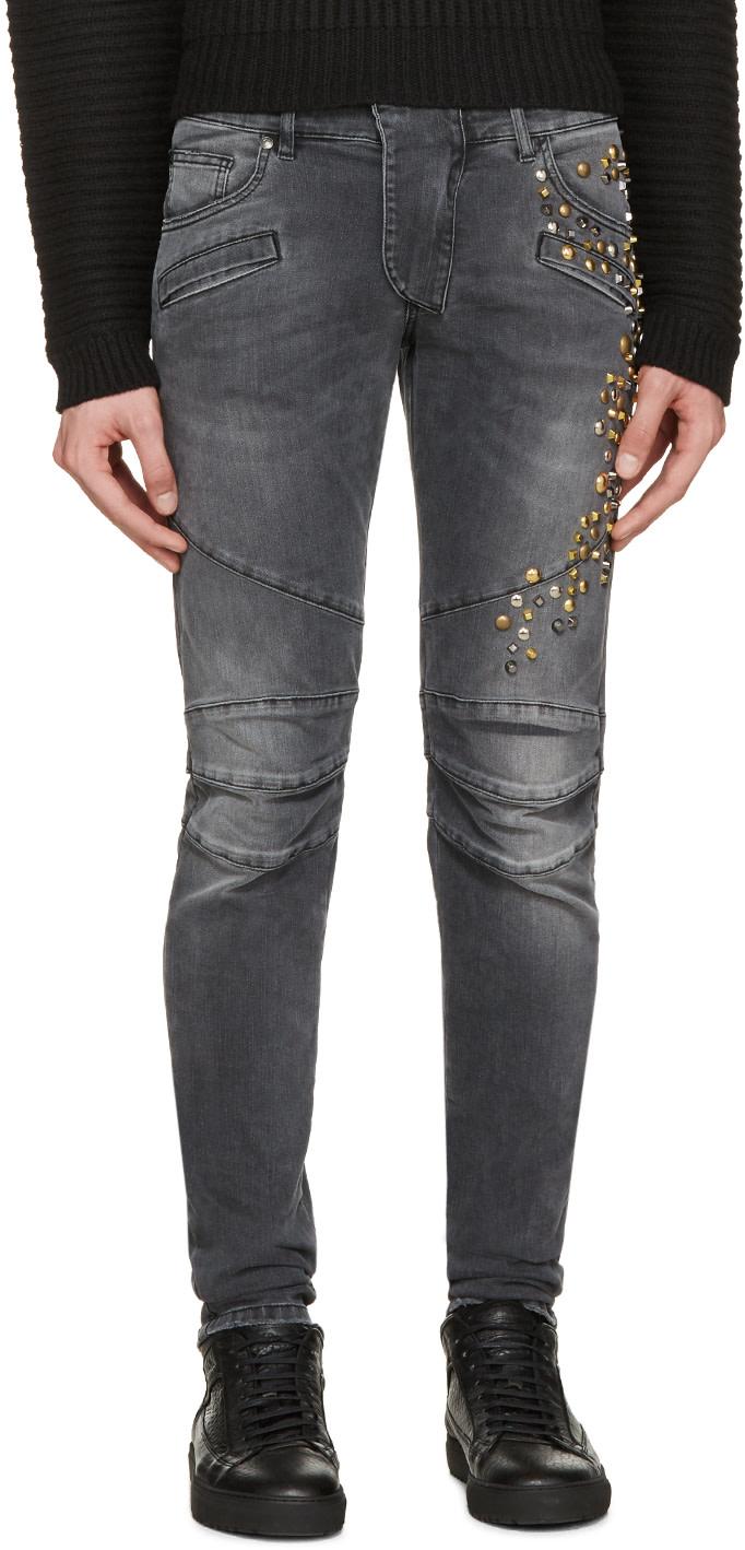 Pierre Balmain: Black Studded Biker Jeans   SSENSE