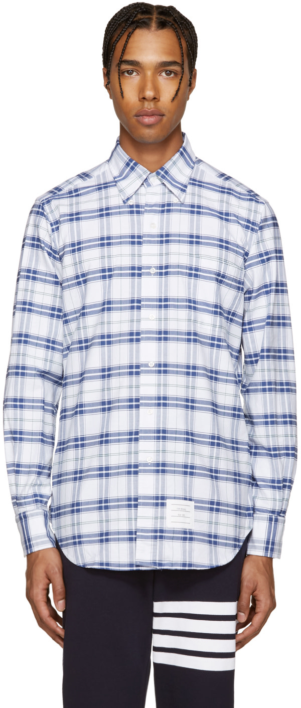 Thom browne white navy classic check shirt ssense for Thom browne white shirt