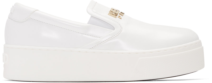 Kenzo - White Faux-Leather Logo Sneakers