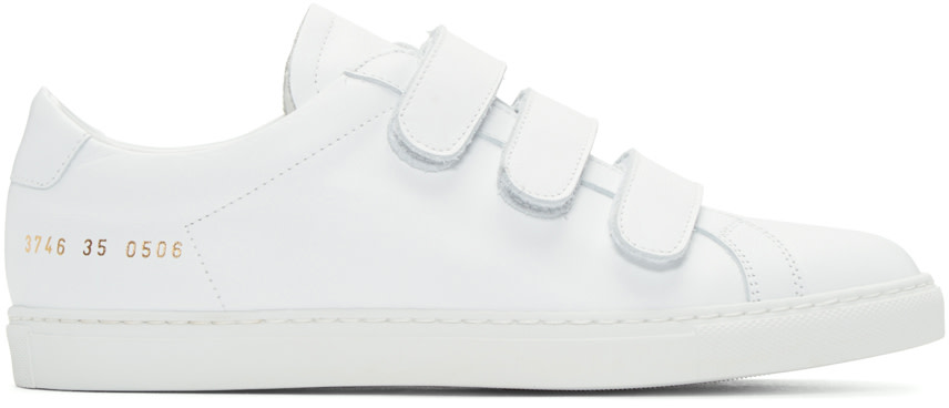 Woman by Common Projects - White Achilles Three Strap Sneakers