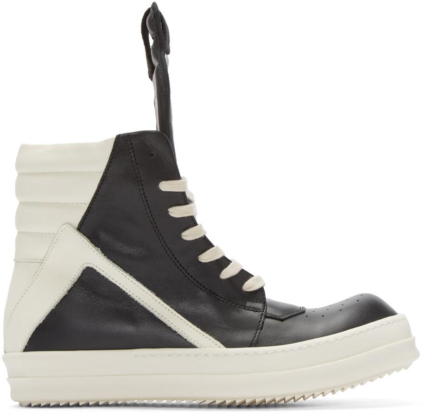 rick owens black white geobasket high top sneakers ssense. Black Bedroom Furniture Sets. Home Design Ideas