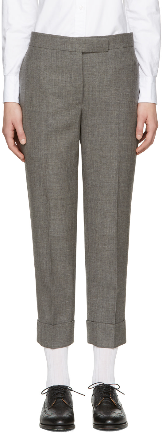 Grey Low-Rise Skinny Trousers, 035 Med Grey