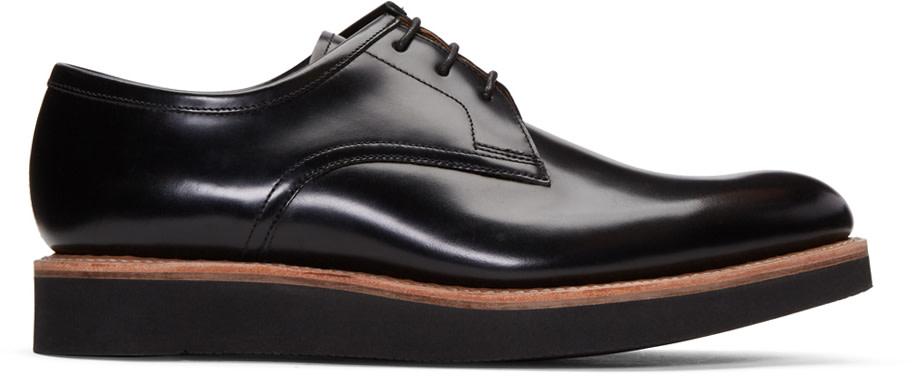 GRENSON Lennie Polished-Leather Derby Shoes in Black Hi Sh