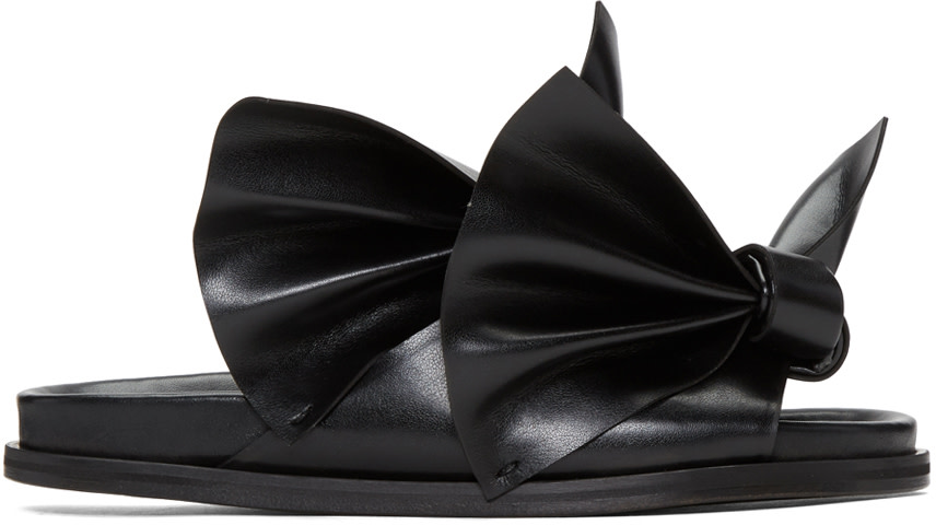 CEDRIC CHARLIER Black Bow Birks Sandals at SSENSE