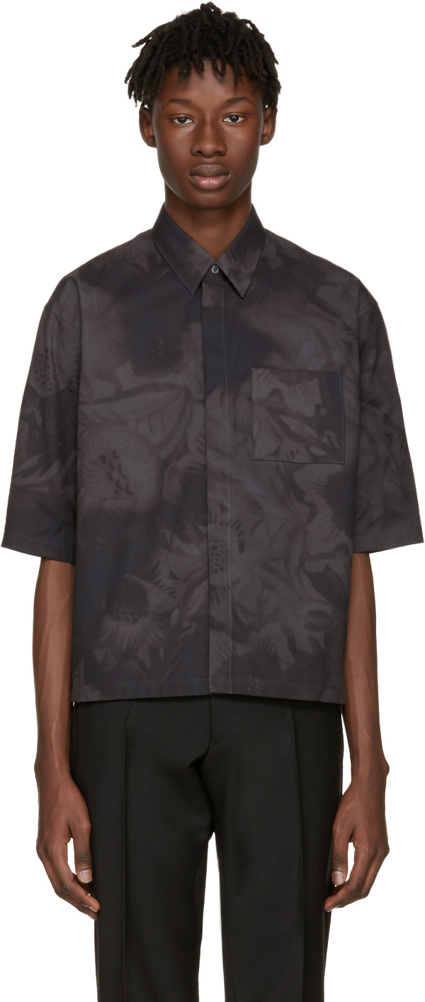JIL SANDER Grey Minuetto Flower Shirt at SSENSE