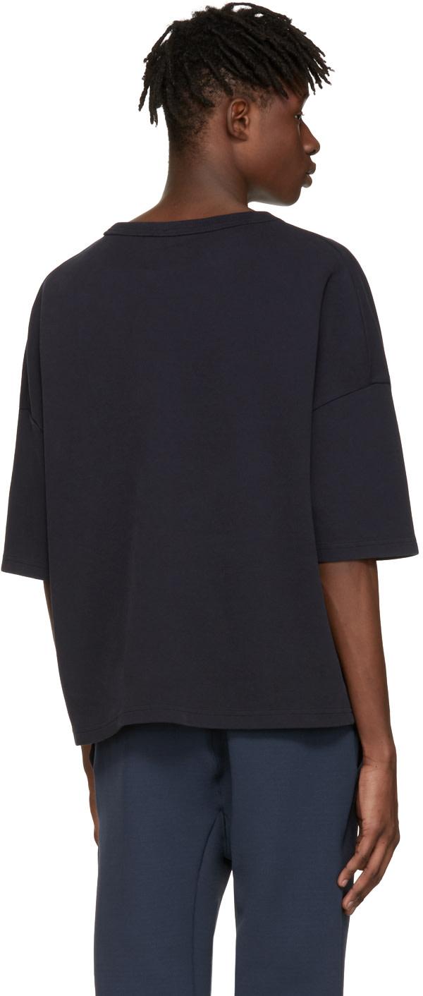 JIL SANDER Navy Piqué T-Shirt