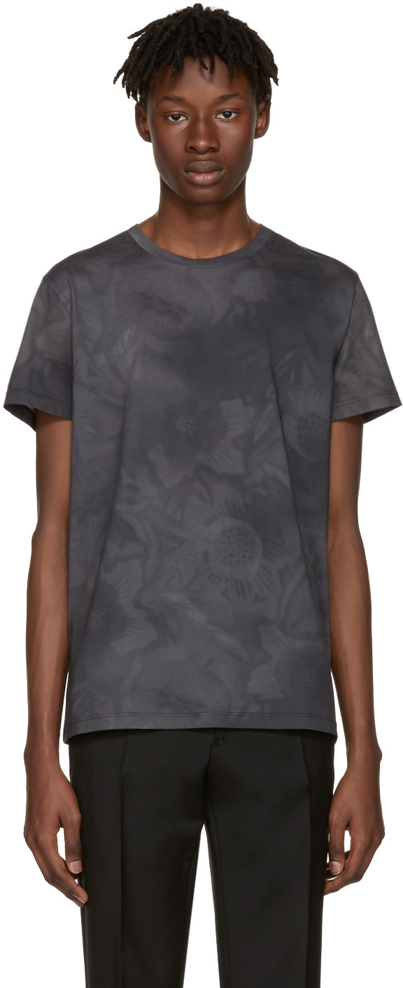 JIL SANDER Grey Flower T-Shirt
