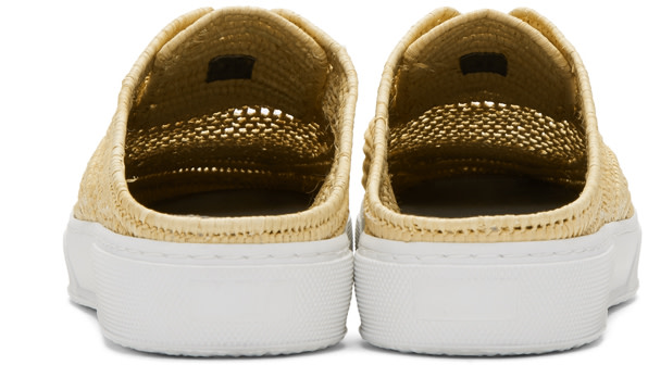 ROBERT CLERGERIE Beige Teller Straw Stitch Slip-On Sneakers