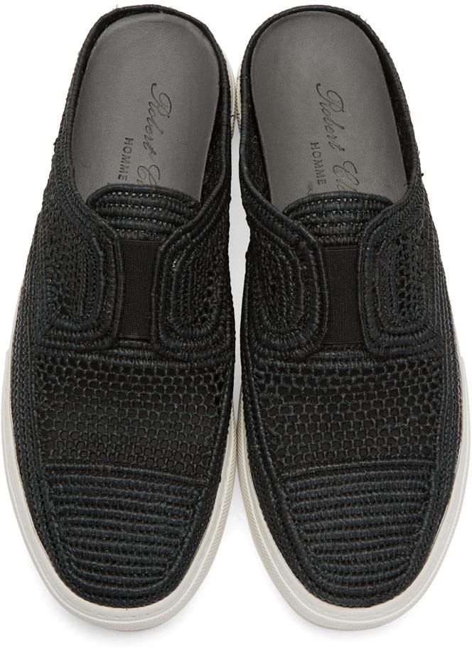 ROBERT CLERGERIE Black Teller Straw Stitch Slip-On Sneakers
