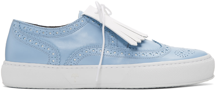 ROBERT CLERGERIE Blue Tolka Brogue Sneakers at SSENSE