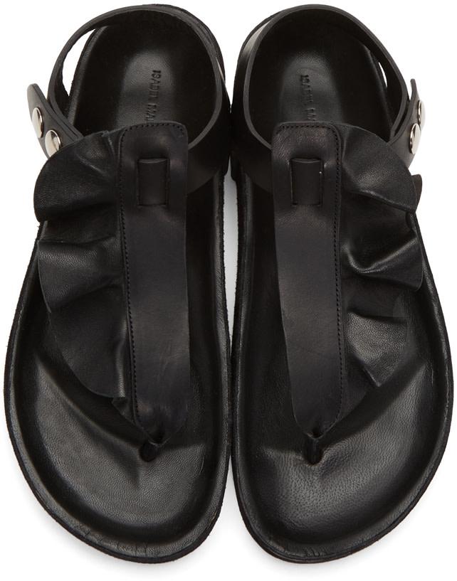 ISABEL MARANT Leakey Flat Leather Thong Sandal, Black