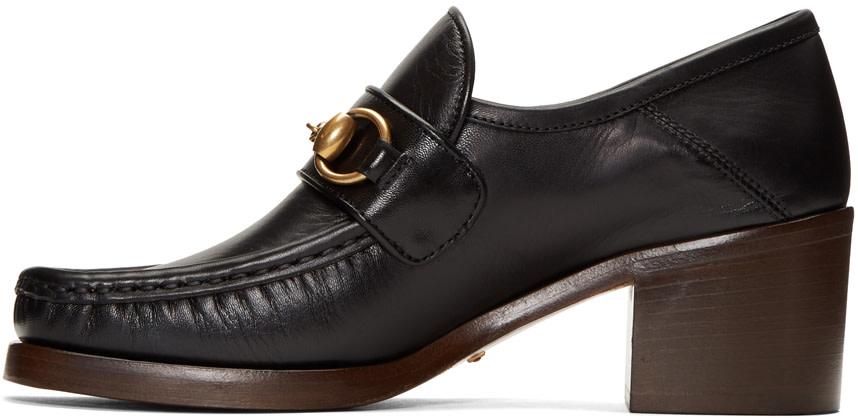 GUCCI WOMEN'S VEGAS LEATHER MID HEEL LOAFERS, BLACK