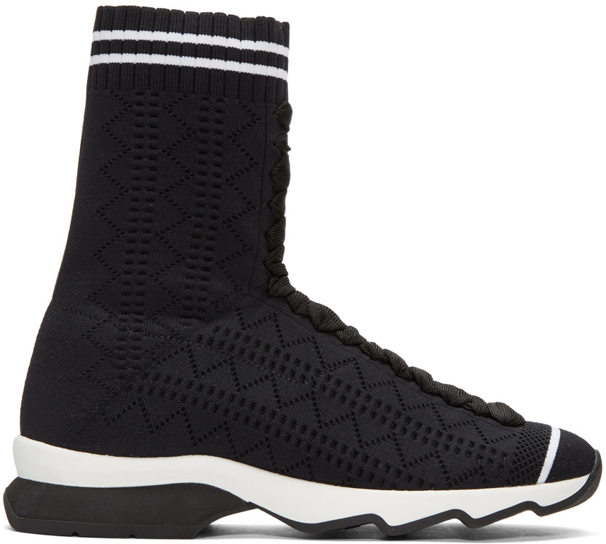 Black Stretch Sock High-Top Sneakers, Black/ White