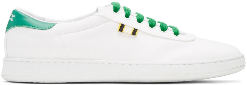 APRIX Aprix White And Green Canvas Apr-003 Sneakers in White/Kelly Green