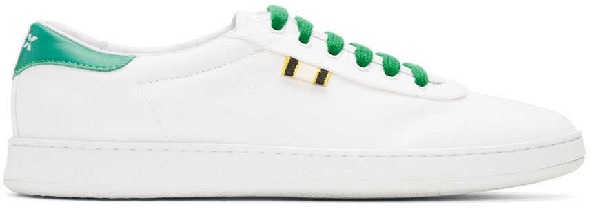 APRIX Aprix White And Green Canvas Apr-003 Sneakers in White/Green