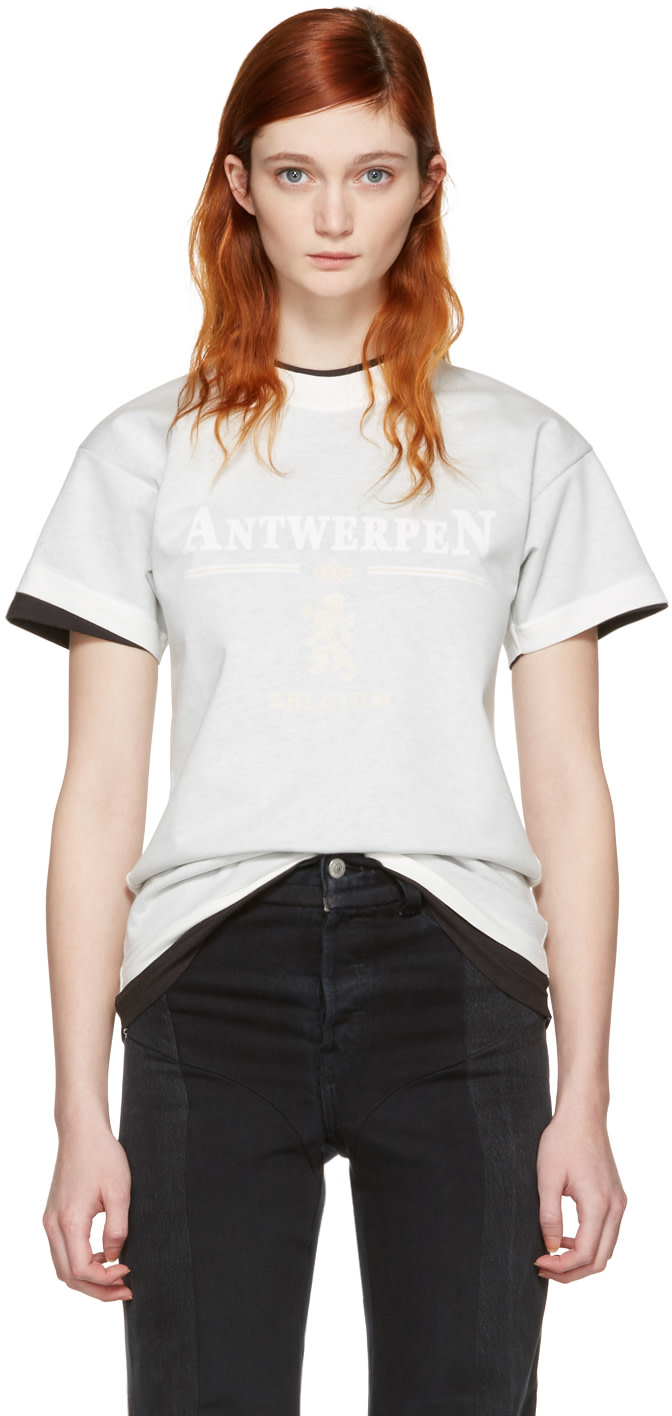 Vetements: White Hanes Edition Fitted Double 'Antwerpen' T-Shirt ...