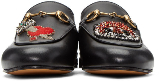 GUCCI PRINCETOWN APPLIQUÉD EMBELLISHED LEATHER SLIPPERS, BLACK LEATHER