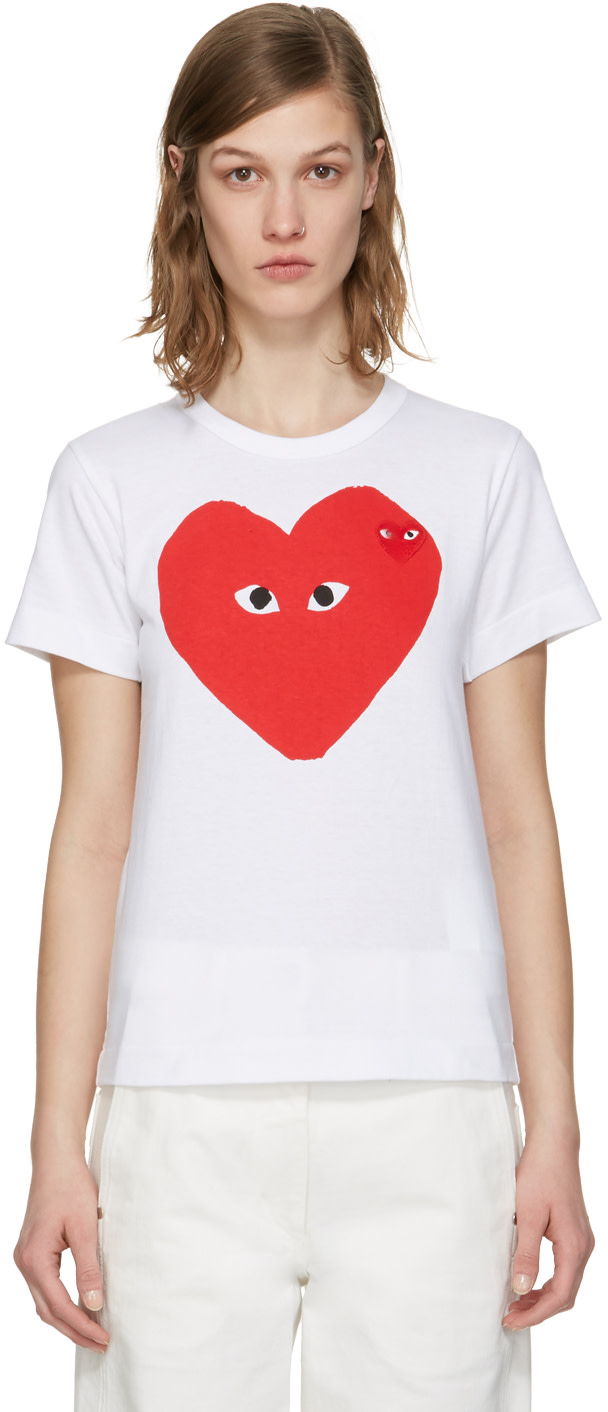 25d69c4f9a3c Comme Des GarÇOns Play Comme Des Garcons Play White And Red Double Large Hearts  T-
