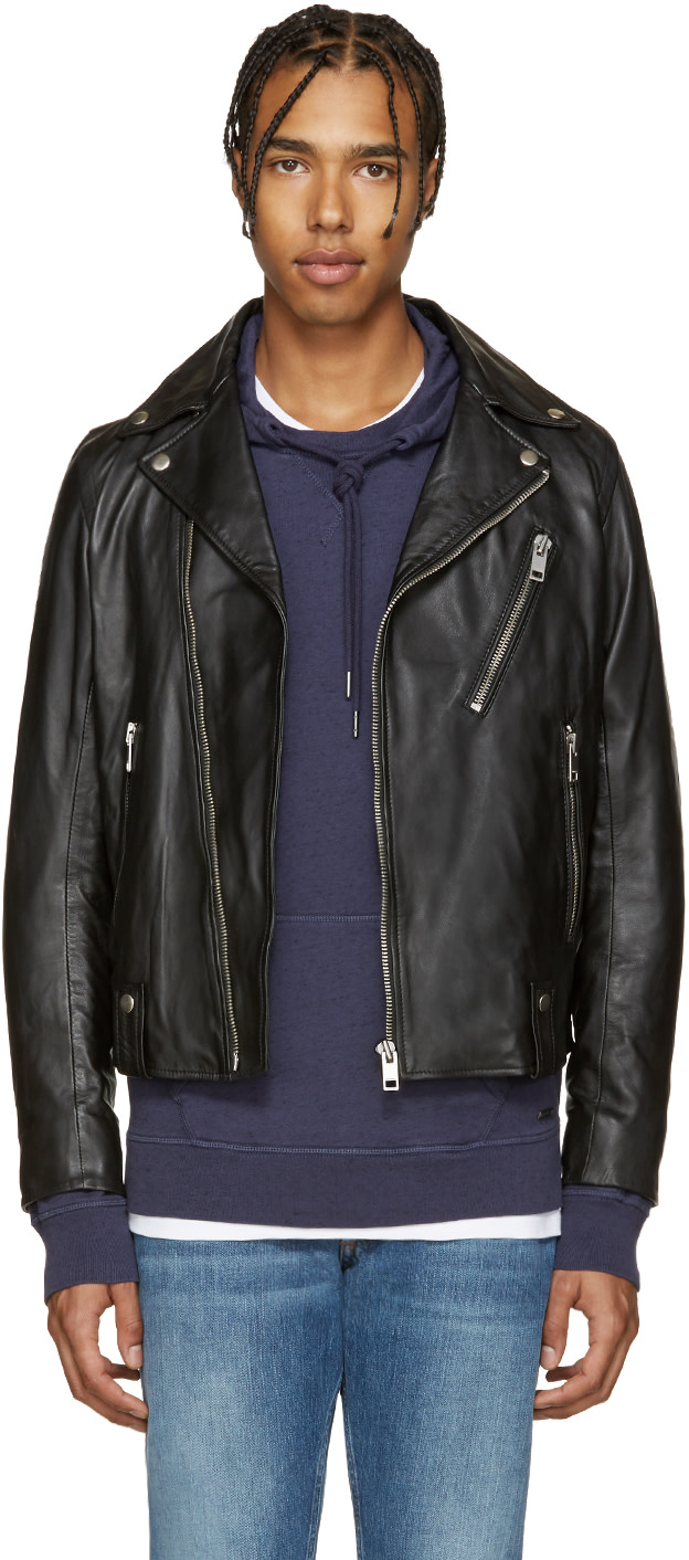 Diesel: Black Leather L-Beck Biker Jacket | SSENSE