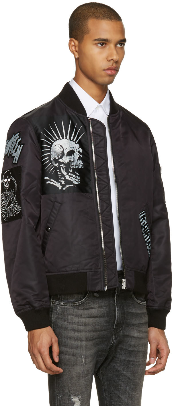 R13: Black Patched MA-1 Flight Jacket | SSENSE