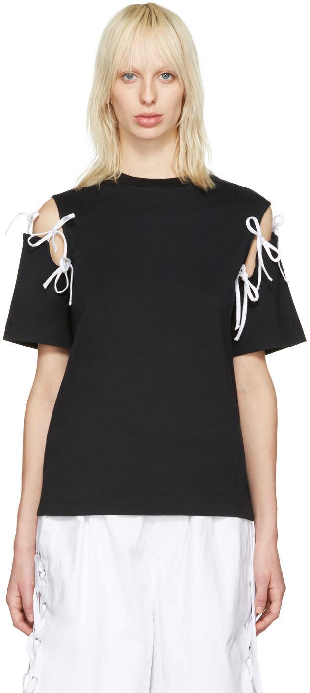 Facetasm: Black Tie Shoulder T-Shirt | SSENSE
