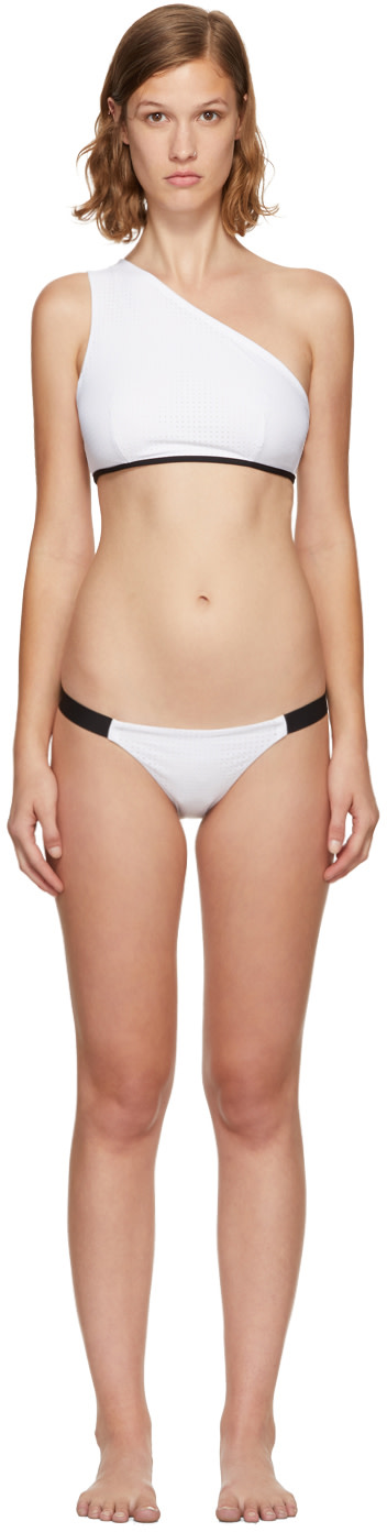 WARD WHILLAS Ward Whillas Reversible Lane Single-Shoulder Bikini Top in White/Black