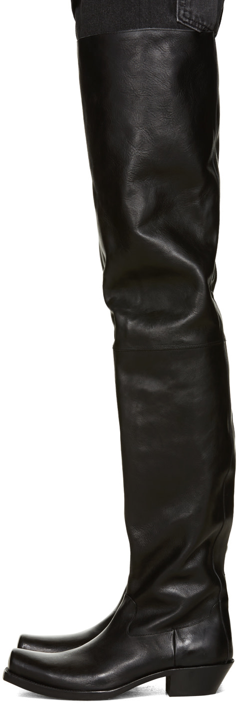 Vetements: Black Leather Over-the-Knee Boots | SSENSE