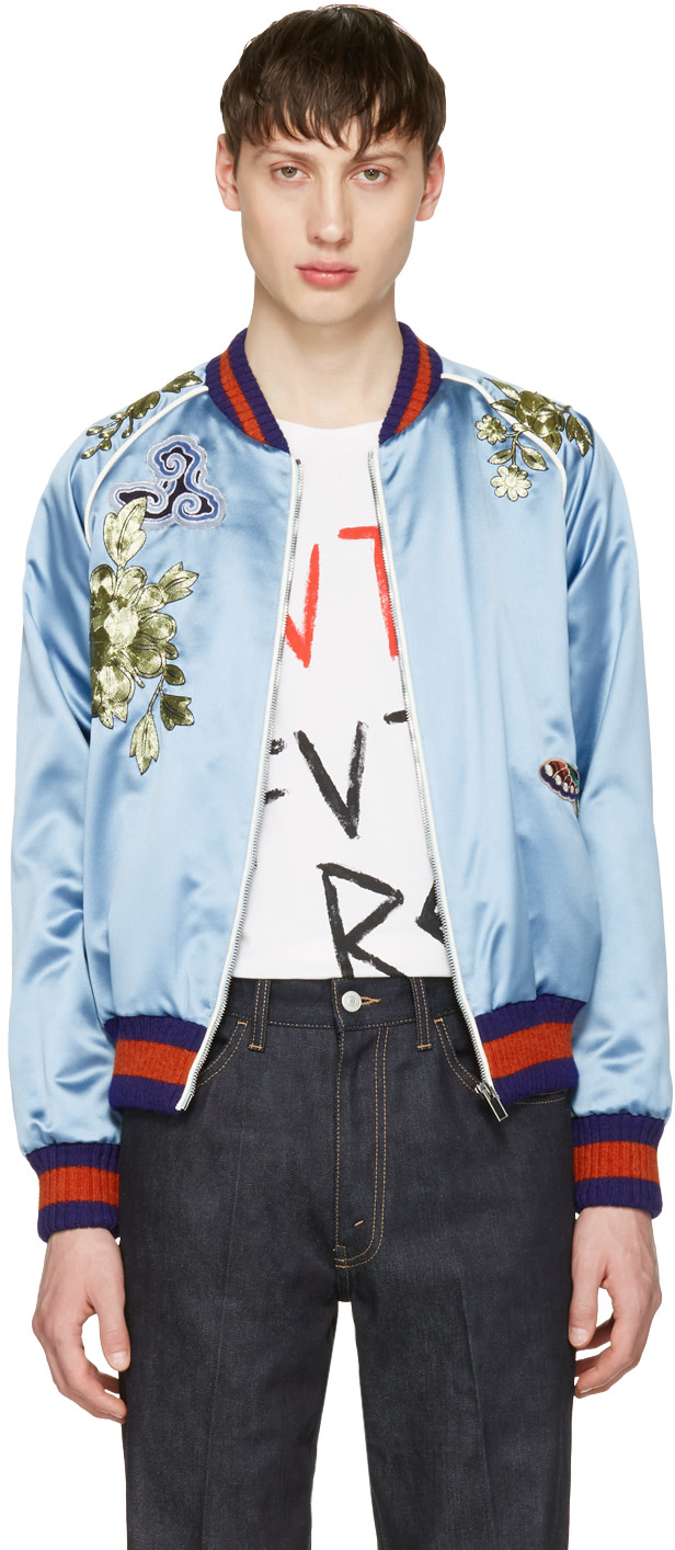Gucci: Blue Embroidered Silk Bomber Jacket | SSENSE