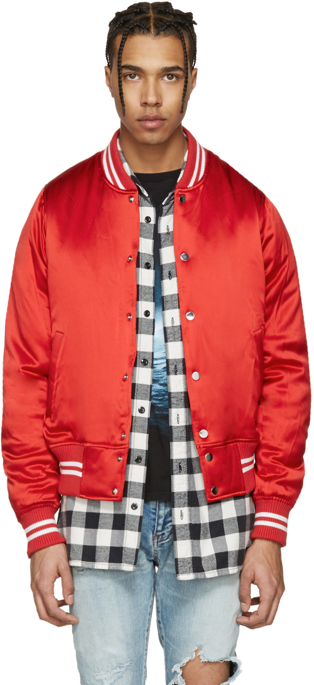 Amiri: Red Satin Baseball Bomber Jacket | SSENSE