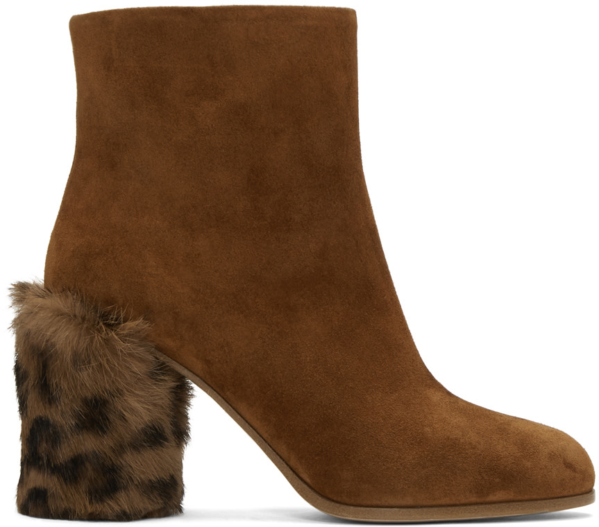 SUEDE AND FUR ANKLE BOOTS