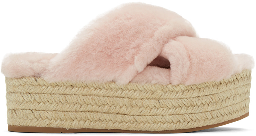 Pink Shearling Cross Sandals