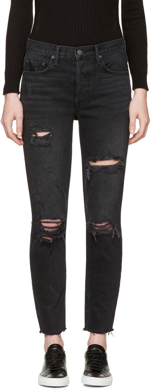 GRLFRND Karolina High-Rise Skinny Jean With Butt Slit in Black