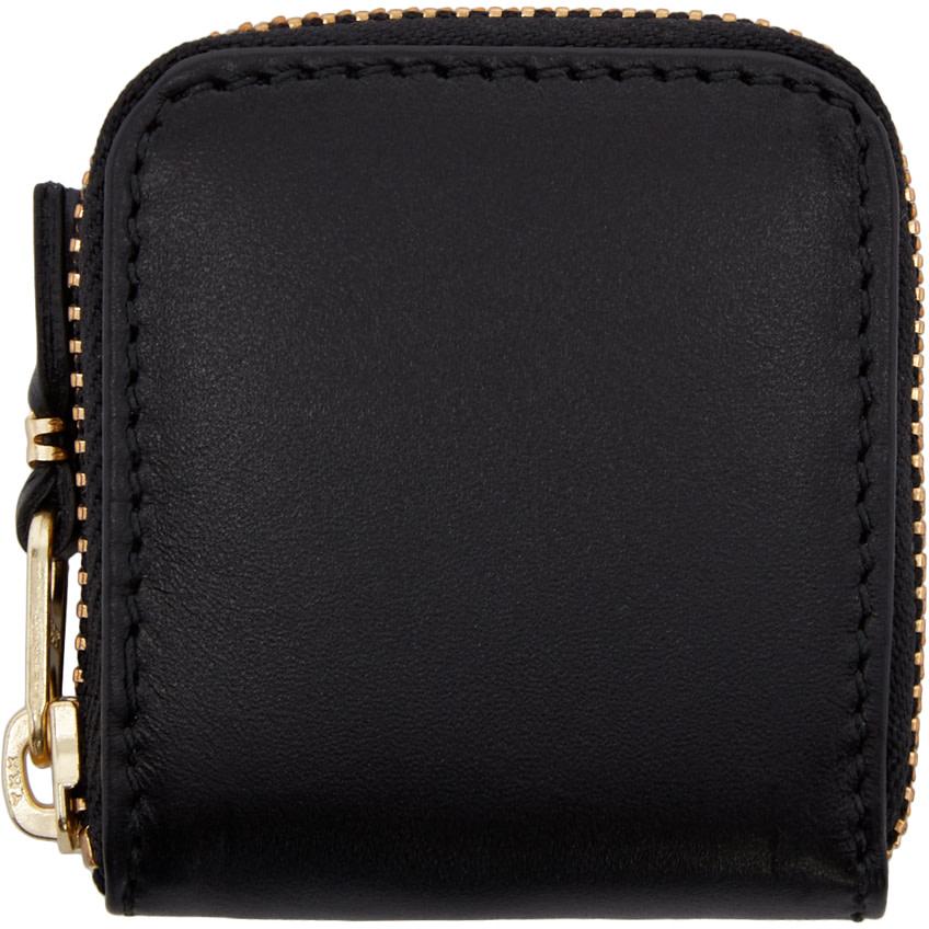 Comme Des Garçons Black Small Leather Zip Around Pouch