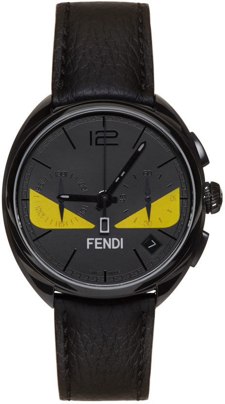 d57315fc4695 Fendi Momento Bug Chronograph Leather Strap Watch