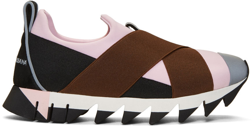 DOLCE & GABBANA DOLCE AND GABBANA PINK AND BLACK IBIZA SLIP-ON SNEAKERS