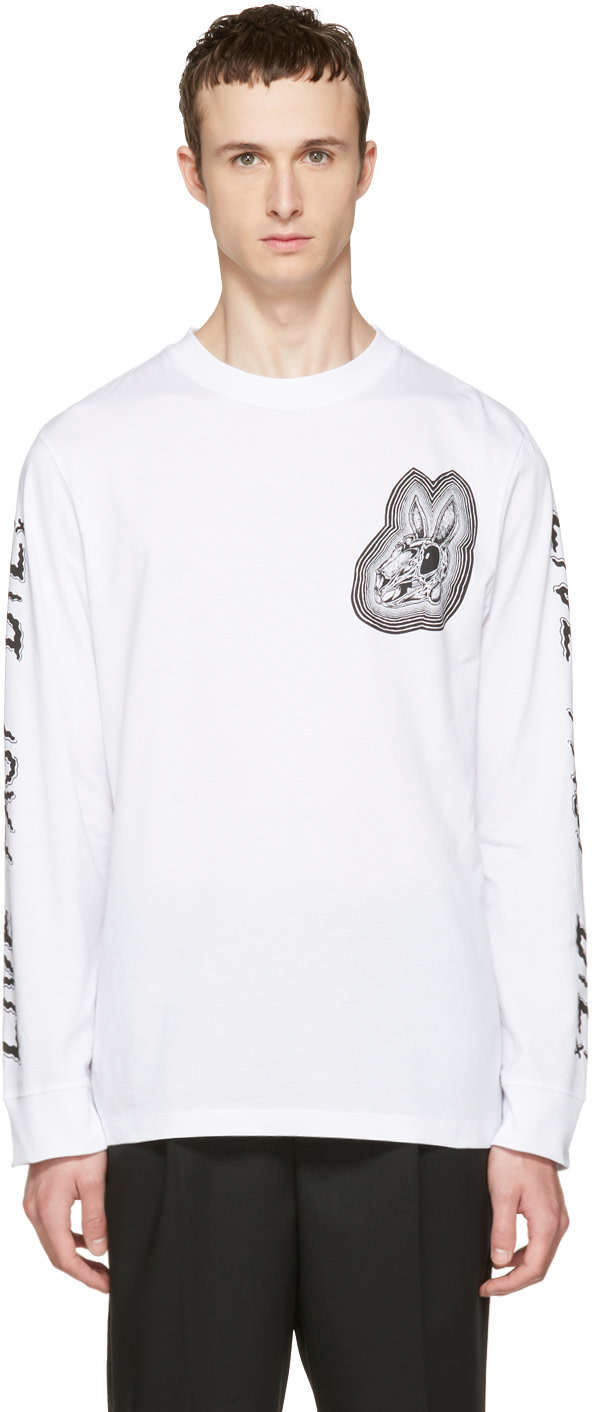 Mcq By Alexander Mcqueen Cottons White Long Sleeve 'Live Fast Die' T-Shirt