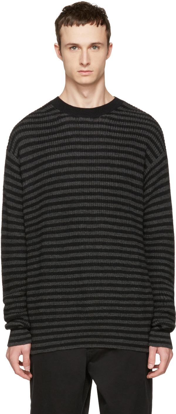 Mcq By Alexander Mcqueen Wools Black & Grey Striped Wool Sweater
