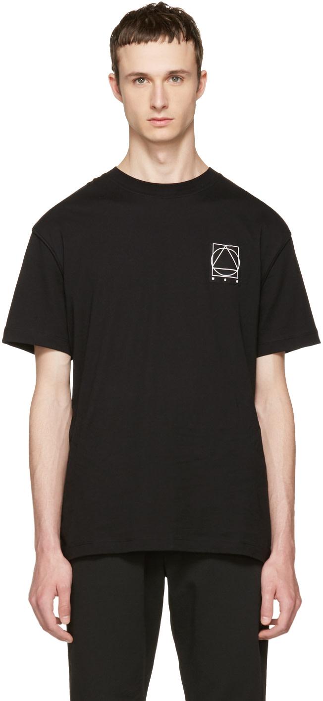 Mcq By Alexander Mcqueen Cottons BLACK LOGO GLYPH ICON T-SHIRT