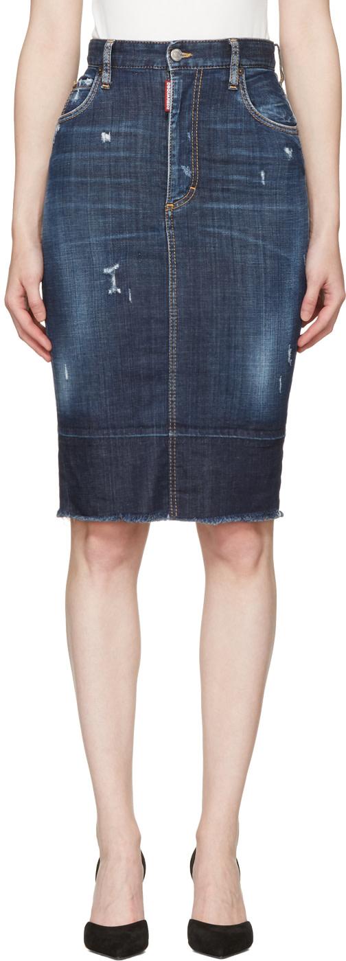 Dsquared2 Denims Blue Frayed Hem Skirt