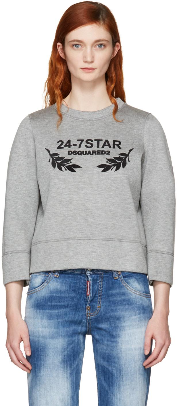 Dsquared2 Sweatshirts DSQUARED2 GREY FELTED LOGO SWEATSHIRT