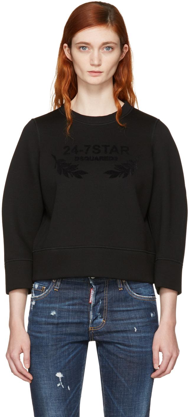 Dsquared2 Sweatshirts Black Felted Logo Sweatshirt
