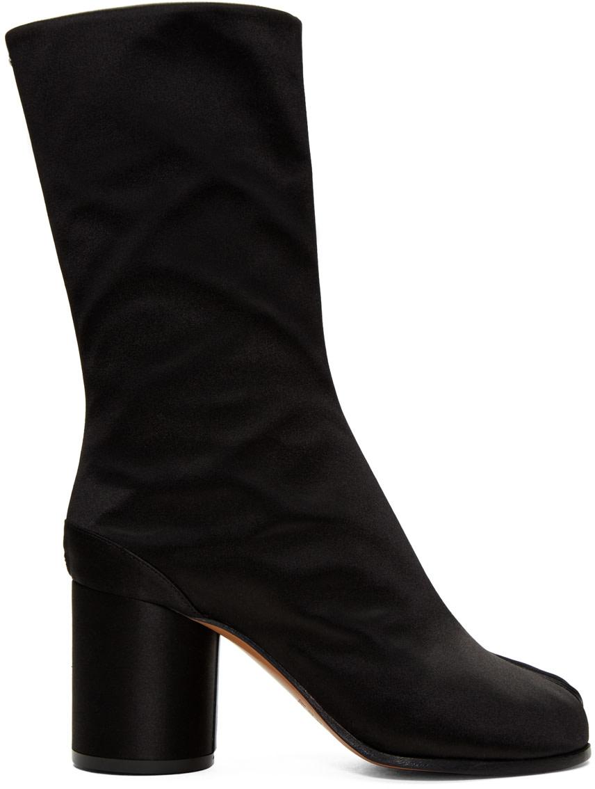 Maison Margiela Leathers Black Satin Tabi Boots