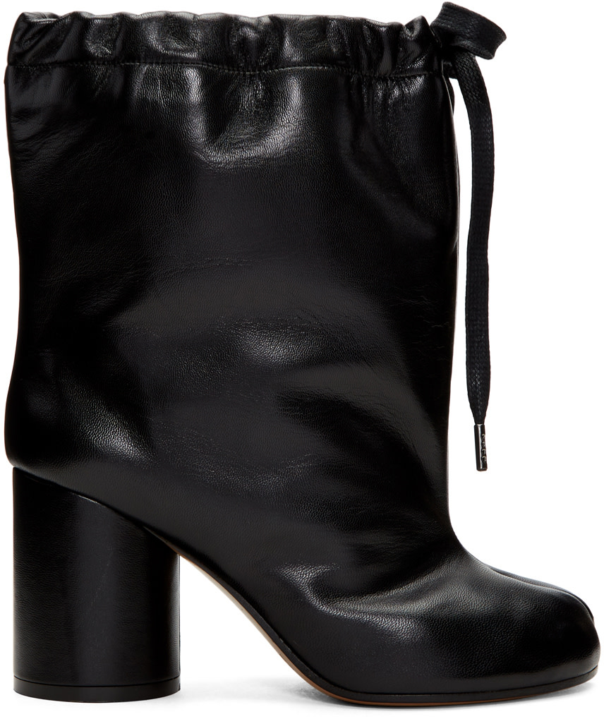 LEATHER ANKLE BOOTS WITH DRAWSTRING