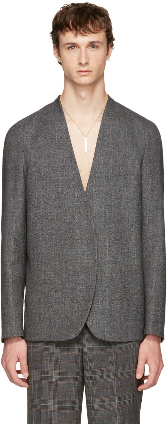 Maison Margiela Wools Grey No Lapel Blazer